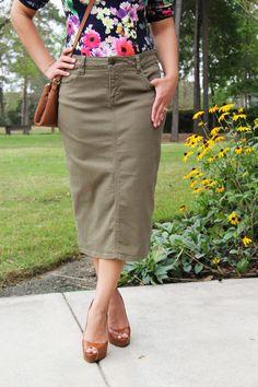 495c357954b85 Colored Denim Skirt - Dried Herb - Beautiful One Modest Apparel Modest  Denim Skirts, Modest