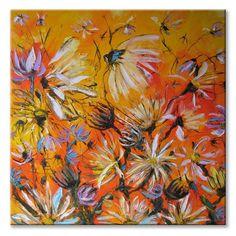 My orange summer day  art floral painting by ImpastoOilPaintings, $398.00