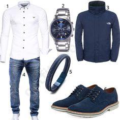Herren-Outfit mit weißem Kayhan Hemd, blau-silberner Armani Herrenuhr, The North Face Jacke, Merish Jeans, blauen Timberland Sneakern und Halukakah Armband.