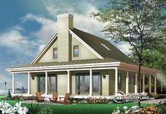 Rear view - BASE MODEL Country cottage with wrap around porch, open floor plan, centralized fireplace - Florence 3 Bedroom Home Floor Plans, House Floor Plans, Beach House Plans, Cottage House Plans, Drummond House Plans, Home Porch, Shed Plans, Open Floor, Building Materials