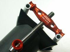 POP-Products UD Carbon Sattelstützen Kopf der 34,9x425 mm Sattelstütze. Set up in Orange. Vorderansicht.