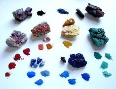 Pigments, crystals and minerals including lapis lazuli, azurite, malachite, cinnabar, orpiment and realgar