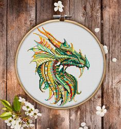 Mandala Dragon Cross Stitch Pattern for Instant Download