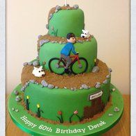 Westie Dogs and Bicycle 60th birthday cake. This one could be for Uncle Gary on his 75th!