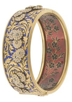 Antique gold, cloisonné enamel, diamond bangle, by Germain Bapst and Lucien Falize, Paris, circa 1889.
