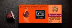 "Kapsel-Kaffeemaschine Espresso forte Ethical Coffee. Nespresso-kompatiblen. Capsule Ethical Coffee ""Espresso forte"". Capsule compatible Nespresso. Composition Arabica & Robusta."