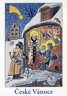 České Vánoce by Josef Lada Christmas Manger, Christmas Art, Christmas And New Year, Vintage Christmas, Christmas Card Images, Christmas Scenes, Holiday Cards, The Good Soldier Svejk, Old Postcards