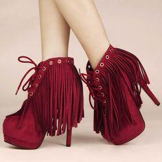 Red Tassel Platform High Heel Lace Up Goth Burlesque Fashion Boots SKU-11405403