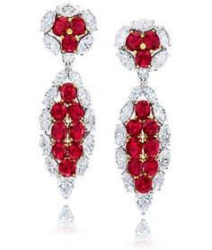 Ruby, Diamond and 18K White Gold Earrings