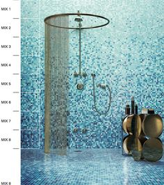 Mosaic Bathroom Design - Here, let's specifically talk about mosaic bathroom design here! This mosaic design is very suitable for your modern bathroom design. Blue Mosaic Tile, Mosaic Bathroom, Mosaic Glass, Tile Bathrooms, Mermaid Bathroom, Bathroom Showers, Gold Bathroom, Luxury Bathrooms, Master Bathrooms