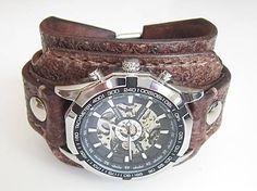 leon / hnedý kožený remienok s hodinkami winner