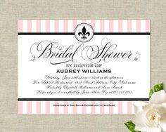 Stripes chandelier invitation like this idea for a paris theme french fleur de lis bridal shower invitations filmwisefo
