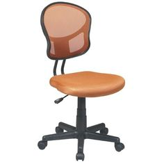 Office Star Products - Mesh Task chair in Orange Fabric - Office Chairs Mesh Chair, Mesh Office Chair, Home Office Chairs, Home Office Furniture, Diy Furniture, Chair Upholstery, Sofa Chair, Chair Cushions, Orange Office