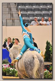Equestrian vaulter, Laura Loonstein, showing balance, grace and fludity from the tips of her fingers to her toes.