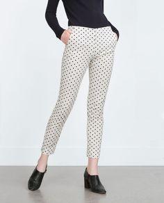 POLKA DOT SLIM TROUSERS-View all-Trousers-WOMAN-SALE | ZARA United States