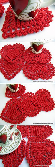 Crochet Heart Coaster Ideas 50 Ideas For 2019 Holiday Crochet, Crochet Home, Love Crochet, Crochet Gifts, Crochet Motif, Crochet Doilies, Crochet Flowers, Crochet Dishcloths, Knit Crochet