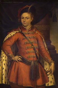 Unknown man, formerly known as Prince Charles Edward Stuart by Unknown artist - National Portrait Gallery, London - Bonnie Prince Charlie in Polish nobleman's clothes..His mother was Polish Klementyna Sobieska-grand daughter of King Jan Sobieski.