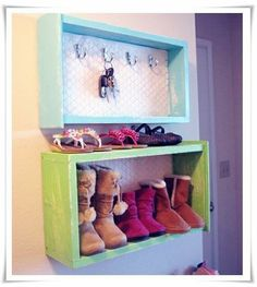 Re-use old dresser drawers for shoe racks, key racks