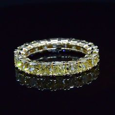 3.00 Ct. Cushion Cut Canary Diamond Eternity Ring - Recently Sold Engagement Rings