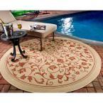 Courtyard Natural/Terracotta 7 ft. 10 in. x 7 ft. 10 in. Indoor/Outdoor Round Area Rug