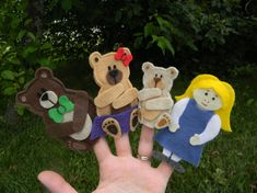 Goldilocks and the 3 Bears Finger Puppet Play Set by ShepArt, $33.00