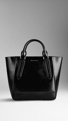 #Burberry Large Patent London Leather Portrait Tote Bag