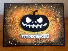 """Die schlichte Karte: Halloween mit Stanzen ll Stanze Kürbiskopf Aliexpress, """"Trick or Treat"""" Tim Holtz,  """"Scull Blueprint"""" Tim Holtz"""
