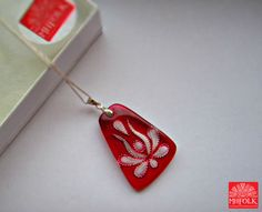 Handcut lead crystal jewlery Matyo rose necklace by MHFolk on Etsy, $59.00