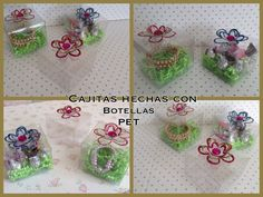 CAJITAS PARA REGALO HECHAS CON BOTELLAS PET .