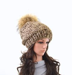 Chunky Slouchy Woman Knit Hat Beanie Toque with Large Fur Pom Pom   The Charlotte by Avaneska on Etsy