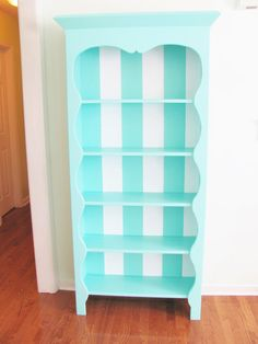Hand Painted Bookcase Striped Turquoise by TheGoldenNest - Etsy