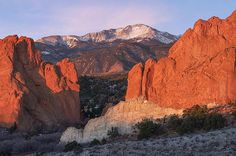 Pikes Peak and Gateway Rock from Garden of the Gods near Colorado Springs, Colorado by Aaron Song -  http://aaron-spong.artistwebsites.com