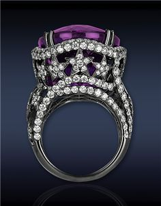 Amethyst Cocktail Ring, 31.46cts Oval Amethyst Center to 3.82cts Pave Set White Diamonds (288 Stones) as Flowers on Stary Gallery and Shank....