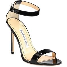 Manolo Blahnik Chaos Patent Leather Ankle-Strap Sandals ($760) ❤ liked on Polyvore featuring shoes, sandals, heels, black, apparel & accessories, patent shoes, manolo blahnik shoes, heeled sandals, black patent leather sandals and black shoes