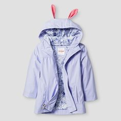 Your little sweetie will look so adorable in the Toddler Girls' Bunny Hooded Jacket by Cat & Jack in Light Purple. This toddler girls' jacket is so fun and fresh–perfect for spring. Plus, it's guaranteed. Cat & Jack is made to last, but if anything doesn't, you can return it up to 1 year later with your receipt.