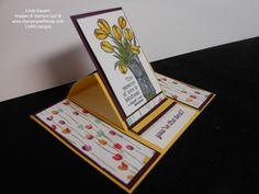 Today's creative fold video features a Center Panel Easel Card. Doesn't get much easier than this card for a creative fold. I started with a piece of Daffodil Delight that measure 5 x 8 and scored it at. Fancy Fold Cards, Folded Cards, Stepper Cards, Card Making Templates, Slider Cards, Wood Stamp, Easel Cards, Beautiful Handmade Cards, Card Patterns