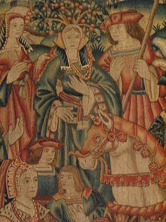 Daniel and Nebuchadnezzar, tapestry, Tournai, start of the 16th century, Musee du Moyen Age, Paris. Detail with bonus Zombie Horse.