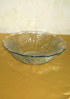 Inventive Vintage 1930s Yellow Amber Maybe Bagley Pottery, Porcelain & Glass Art Deco Frosted Clear Glass Bowl