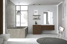 A Look At 29 Contemporary Bathroom Design Ideas : Beautiful Paolo Zanetti Contemporary Bathroom Design with Granite BuiltIn Bathtub and Dark...