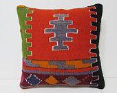 kilim pillow 18x18 burlap pillow sham gypsy cushion cover unusual cushion ethnic throw pillow tribal rug boho pillow cover kilim rug 25529