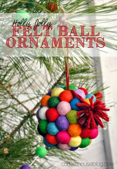 Felt Ball Christmas Ornaments are perfect handmade ornaments for holiday gifts.