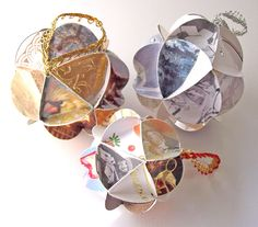 Another lovely hostess gift: recycled greeting card ornaments.