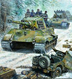 Panzerkampfwagen Tiger II mit aufgesessener Infanterie während der Ardennenoffensive im Dezember 1944. Der Tiger II war als Durchbruchspanzer konzepiert, benötigte aber in den Wäldern der Ardennen infanteristischen Begleitschutz gegen feindliche Panzervernichtungstrupps.