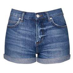 Topshop Moto 'Rosa' Denim Shorts ($52) ❤ liked on Polyvore featuring shorts, denim shorts, short jean shorts, topshop, mid rise denim shorts and frayed shorts
