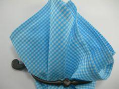 Ginham pocket square Aqua Blue and white by LeBoutonVert on Etsy, $11.75