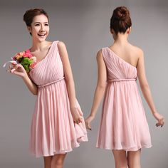 pleated one shoulder empire waist chiffon bridesmaid dress
