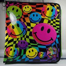 Vintage 90s Lisa Frank 3 Ring Zipper Smiley Face binder
