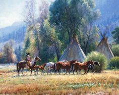 This brilliant piece of artwork, Empty Lodge, by Martin Grelle is a sublime, and elegant work of art that is of Native Americans carefully looking into a teepee, but finding it to be abandoned. Description from betzgallery.com. I searched for this on bing.com/images