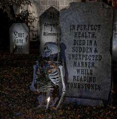 haha creepy!  lots of grave stone ideas