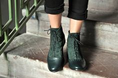 Armada - Womens Fall Boots, Lace-up Leather Boots, Oxford Boots, Green Boots, Leather Ankle Boots, Custom boots, FREE customization!!!